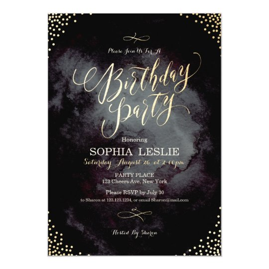 Glam black gold glitter calligraphy birthday party card