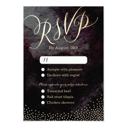 Glam black gold glitter calligraphy wedding RSVP Card