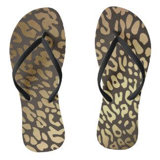 Glam Black Gold Lapart Animals Skin Flip Flops