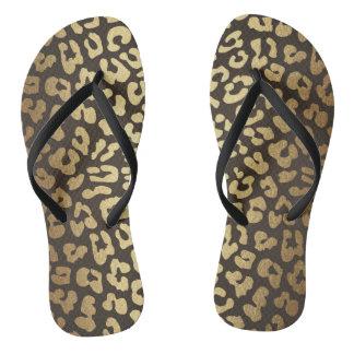 Glam Black Gold  Leopard Skin Safari Flip Flops