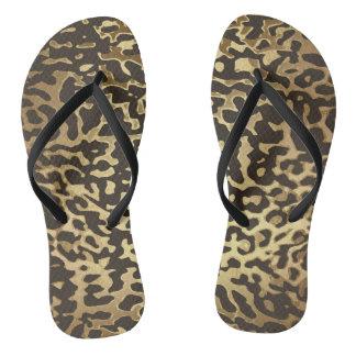 Glam Black Gold Leopard Skin Vip Flip Flops