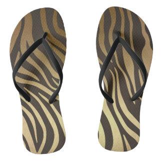 Glam Black Gold Zebra Skin Safari Flip Flops