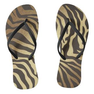Glam Black Gold Zebra Skin Vip Flip Flops
