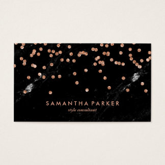 Glam Black Marble Look and Faux Rose Gold Confetti Business Card