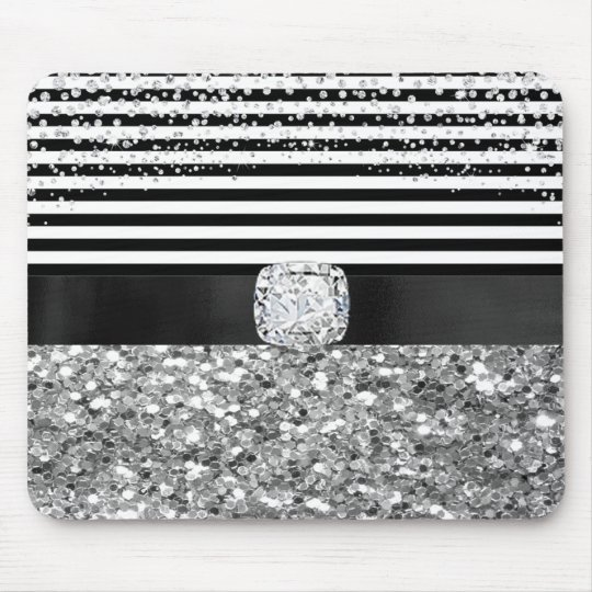 Glam Black & White Stripes Faux Digital Diamonds Mouse Mat