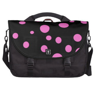 Glam Black with Pink Polka Dots Laptop Computer Bag