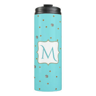 Glam Blue and Gold Monogram Thermal Tumbler