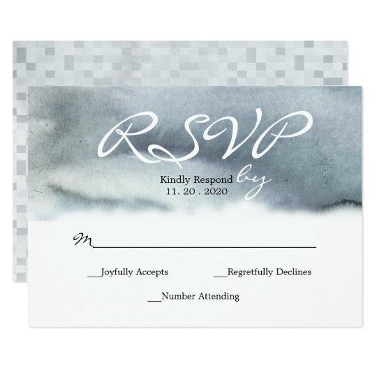 Glam Blue Grey Blush Watercolor Wedding RSVP Card