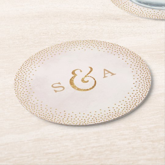 Glam blush faux glitter rose gold wedding monogram