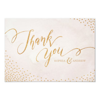 Glam blush glitter rose gold calligraphy thank you 9 cm x 13 cm invitation card