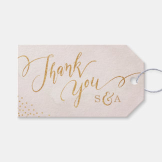 Glam blush glitter rose gold calligraphy thank you gift tags