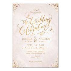 Glam blush glitter rose gold calligraphy wedding 13 cm x 18 cm invitation card at Zazzle