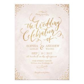 Glam blush glitter rose gold calligraphy wedding invitation