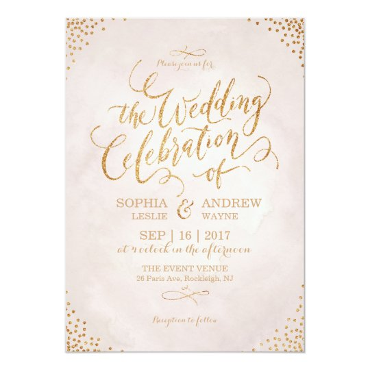 Glam blush glitter rose gold calligraphy wedding invitation | Zazzle ...