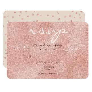 Glam Blush Rose Delicate Floral Leaf RSVP Wedding Card