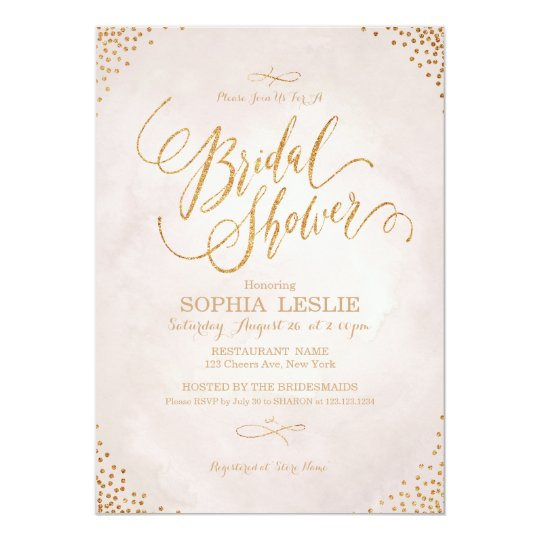 Glam blush rose gold calligraphy Bridal Shower Card