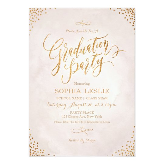 Glam blush rose gold calligraphy graduation party card