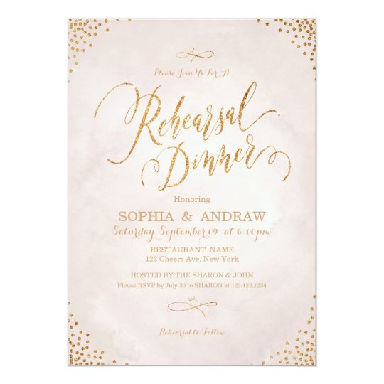 Glam blush rose gold calligraphy Rehearsal Dinner Card