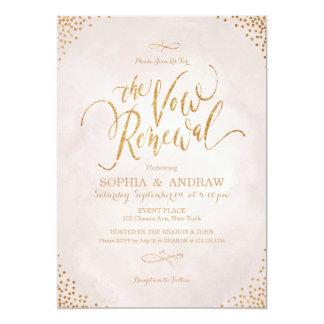 Glam blush rose gold calligraphy vow renewal card