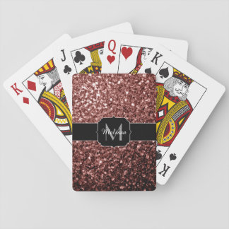 Glam Brown Red Glitter sparkles Monogram Playing Cards