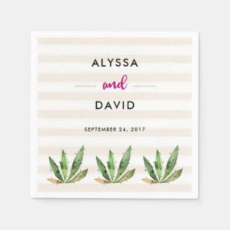 Glam Cactus   Desert Stripes Wedding Paper Napkin