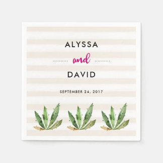 Glam Cactus | Desert Stripes Wedding Paper Serviettes