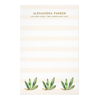 Glam Cactus | Neutral Desert Stripes Customised Stationery