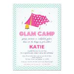 "Glam Camp Makeover Girls Birthday Invitation Card 5"" X 7"" Invitation Card"