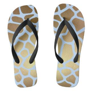 Glam Chic Blue Gold Black Giraffe Skin Flip Flops