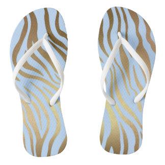 Glam Chic Blue Gold Tiger Zebra Skin Flip Flops