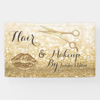 Glam chic Gold faux glitters scissors lips Banner
