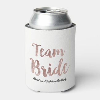 Glam Chic Gold White Team Bride Bachelorette Part Can Cooler