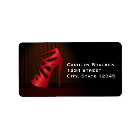 Glam Chic Red High Heels Spotlight Return Address Label