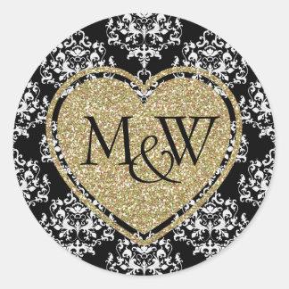 Glam Damask & Gold Glitter Monogram Wedding Round Sticker