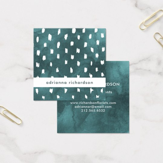 Glam Dark Teal Watercolor with Trendy Dots Square