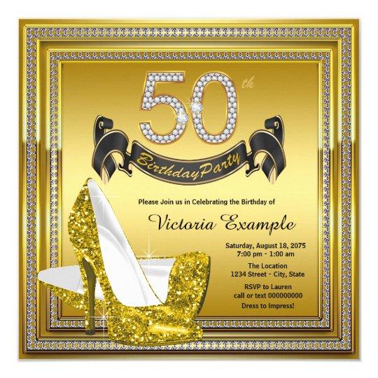 Glam Diamond Gold High Heels 50th Birthday Party