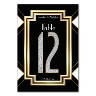 Glam Diamonds Art Deco Wedding Table Number Twelve