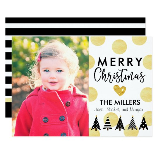 Glam Dots & Christmas Trees Holiday Photo Card