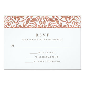 Glam Elegant Faux Rose Gold Glitter Damask RSVP Card