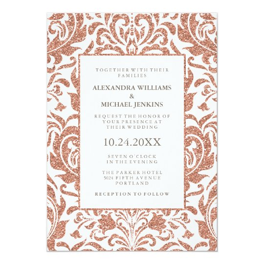 Glam Elegant Faux Rose Gold Glitter Damask Wedding