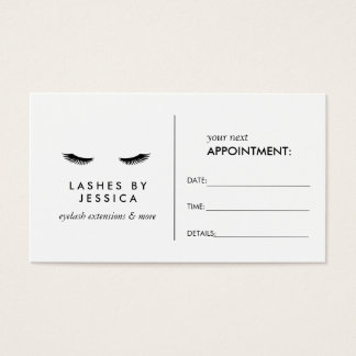 Glam Eyelashes Black and White Appointment Card