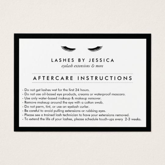 Glam Eyelashes Classic Lash Salon Aftercare Card