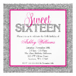 Glam Faux Glitter Silver Hot Pink Sweet 16 Announcement
