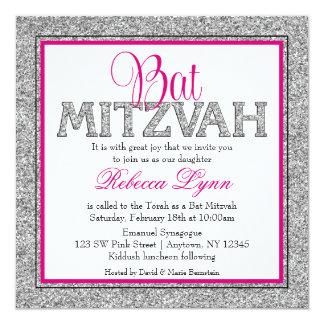 Glam Faux Glitter Silver Pink Bat Mitzvah 13 Cm X 13 Cm Square Invitation Card