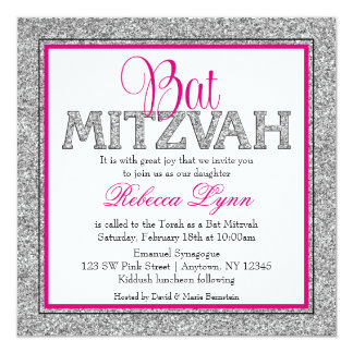 Glam Faux Glitter Silver Pink Bat Mitzvah Card