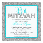 Glam Faux Glitter Silver Teal Blue Bat Mitzvah 13 Cm X 13 Cm Square Invitation Card