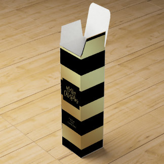 Glam Faux Gold and Black Stripes | Merry Christmas Wine Bottle Boxes
