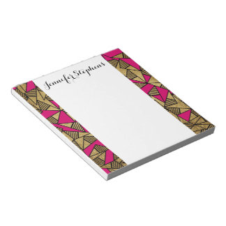 Glam Faux Gold, Black, and Pink Striped Triangles Notepad