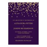 Glam Faux Gold Confetti and Deep Purple Wedding 13 Cm X 18 Cm Invitation Card