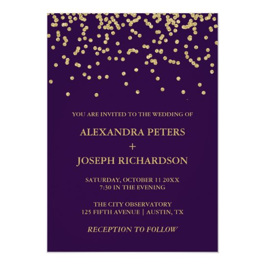 Glam Faux Gold Confetti and Deep Purple Wedding